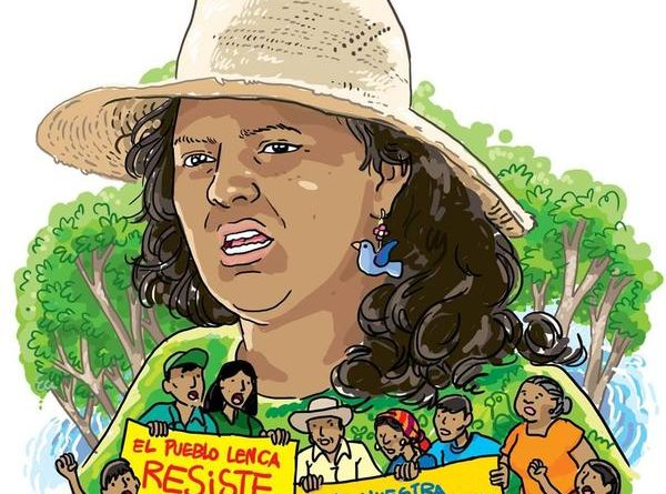 """Dibujo, Cara de Berta Caceres y varias personas sosteniendo dos pancartas que rezan: """"El pueblo Lenca resiste"""" y """"Por nuestra tierra y nuestro agua"""""""