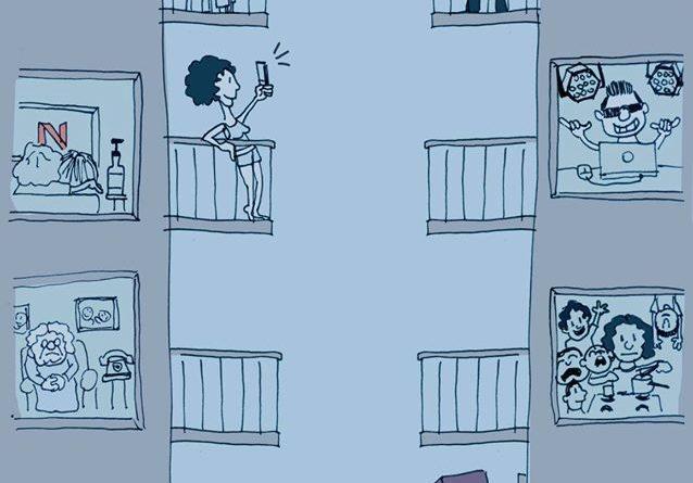 Dibujo de dos bloques de viviendas, en la parte alta personas disfrutan de arte, en la inferior trabajadores y gente pasándolo mal.