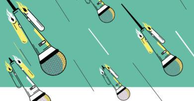Ilustración de microfonos cayendo