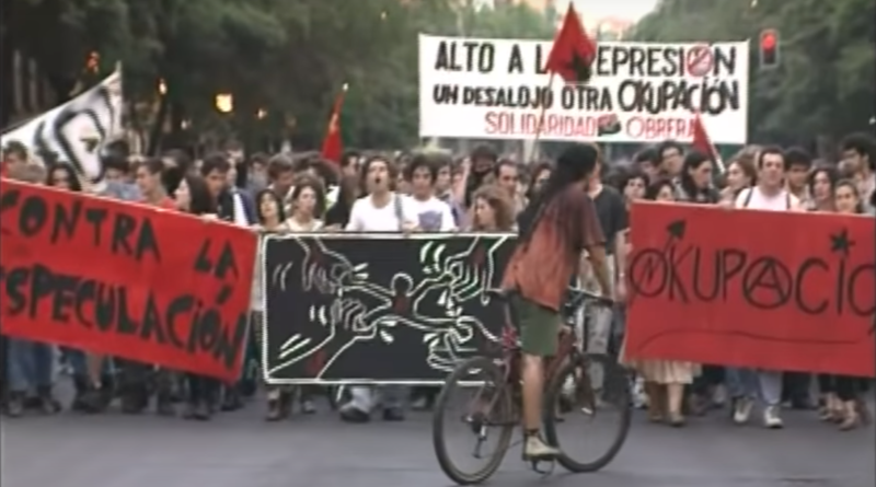 Fotografia de una manifestación por la okupación
