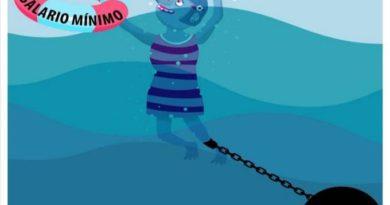 """Ilustración de una mujer nadando agarrandose a un flotador en el que pone """"Salario Mínimo"""" y siendo arrastrada por un lastre en el que pone """"Alquiler"""""""