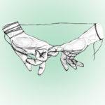Dibujo de dos manos entrelazando sus meñiques